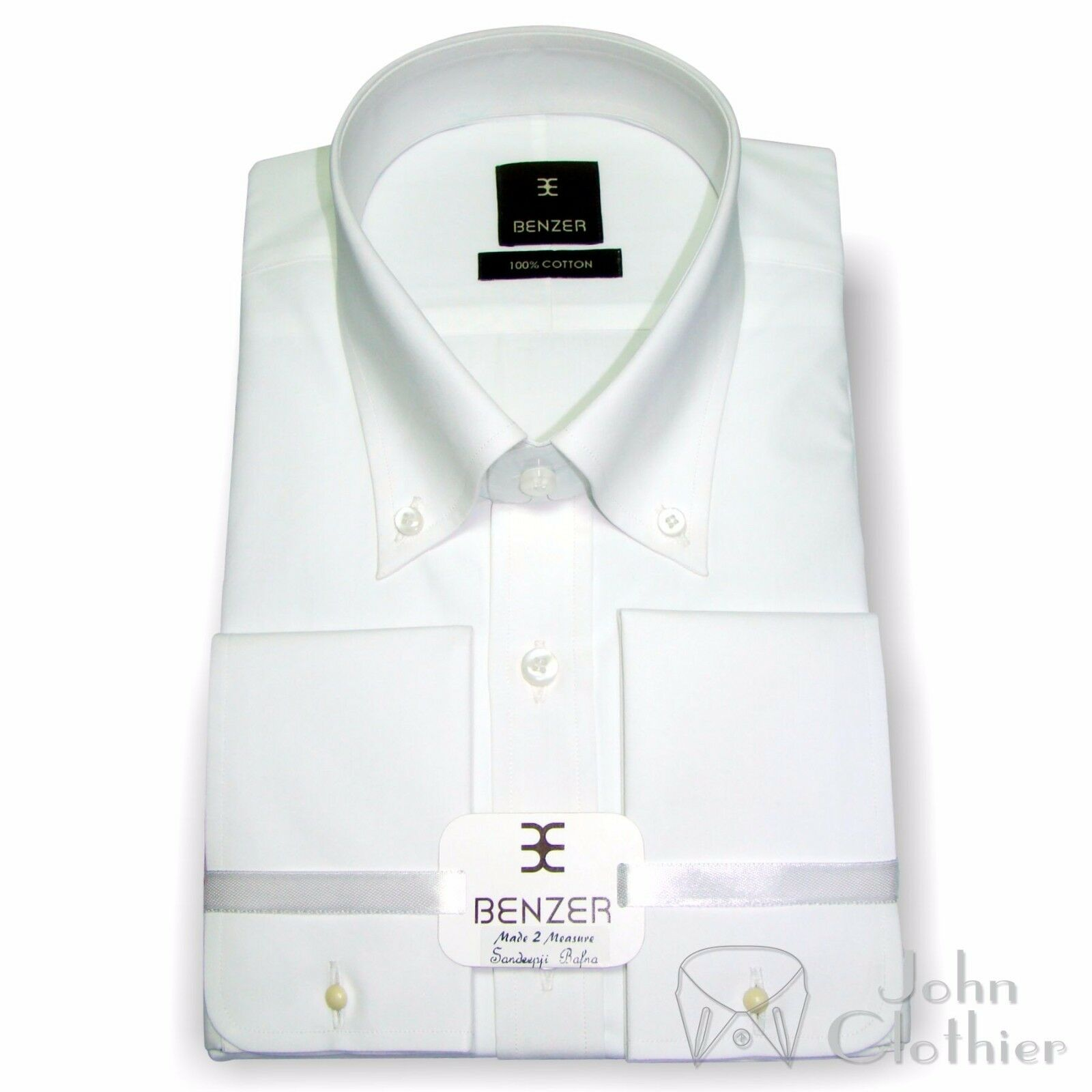 Button down collar Weiß Cotton Dress shirt High Quality Formal Work Wear Gents