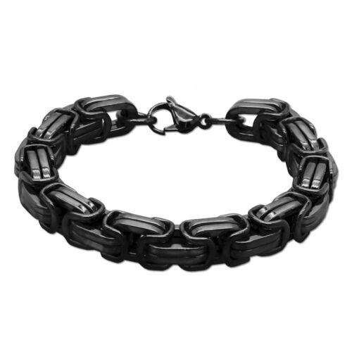 Edelstahl Armband Schwarz 22cm Königskette Herren Massiv Schmuck Armkette 5-12mm