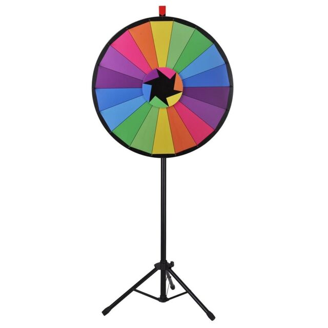 Colorful dry erase spinning prize wheel with tripod 24 with 15 slots airg zombie slots
