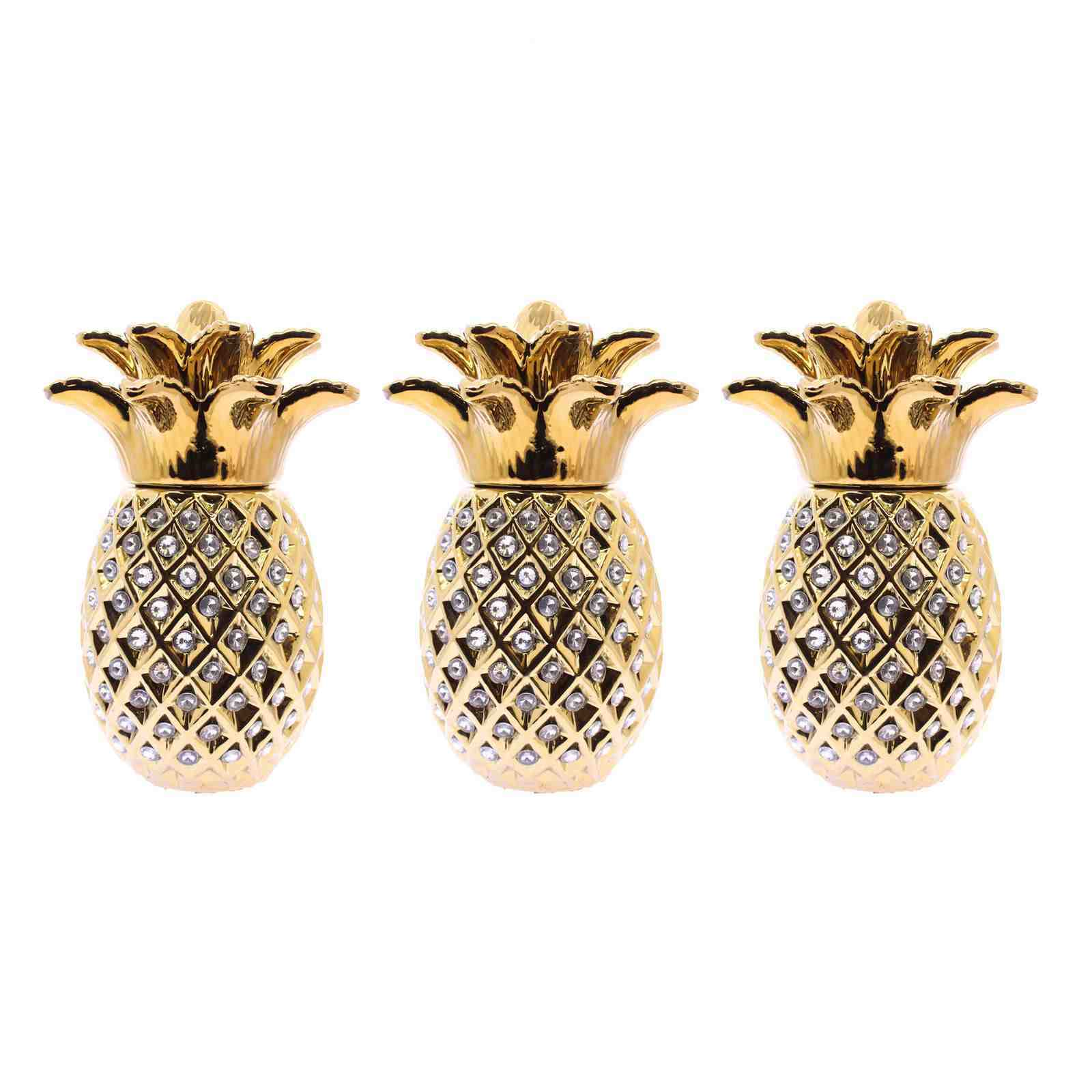 Gold PINEAPPLE JARS SET OF OF OF 3 SUGAR COFFEE BISCUIT ROMANY ORNAMENT GIFT STORAGE 13a059