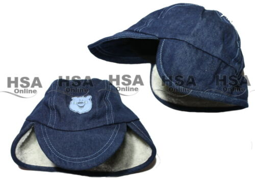 Birthday Gift NEW Boys Denim Hat Toddler Winter Blue Sherpa 12-24 Months