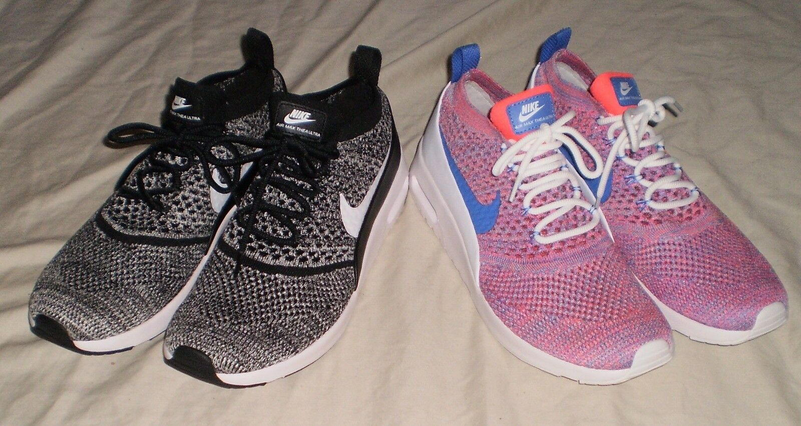 WOMENS NIKE AIR MAX THEA ULTRA FLYKNIT RUNNING SHOES SIZE 12 White/Medium Blue-Racer Pink,Black/White