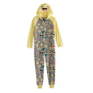 dfc6f1c82 NWT Girls 4-14 SO® Smiley Icon Fleece One-Piece Pajamas Size XXS 4 ...
