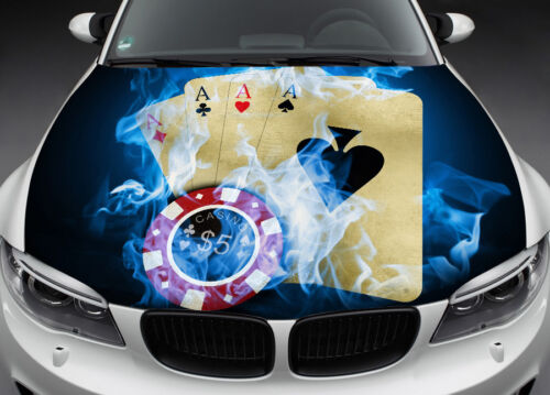 Four Aces Hood Full Color Graphics Wrap Decal Vinyl Sticker Fit any Car #020
