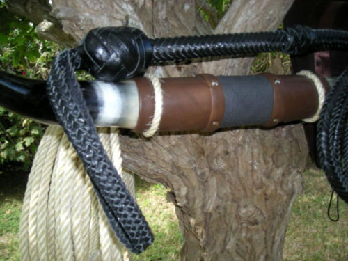 8 ft long16 plait Black Zorro Bullwhip Indiana Jones Stuntman Leather Bull Whip
