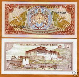 BHUTAN ND 1985 UNC 5 Ngultrum Banknote Paper Money Bill P-14b