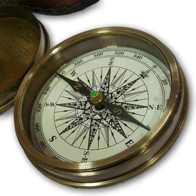 Antiqued Brass Vintage Pocket Poem Compass Nautical Retro Strap Leather Case