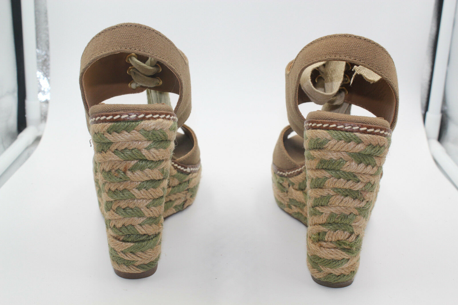 TORY WEDGE BURCH Schuhe 12128401 OLIVE 346 LINLEY HIGH WEDGE TORY ESPADRILLE SIZE 5 38e146