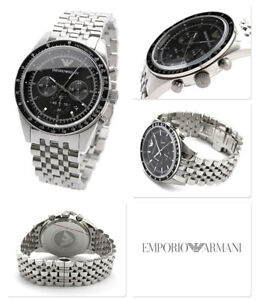 NEW-GENUINE-EMPORIO-ARMANI-AR5988-SILVER-STAINLESS-STEEL-BLACK-DIAL-MENS-WATCH