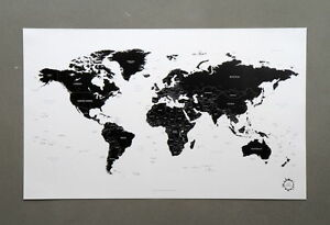 Black and white world map poster version 2 simple is the best ebay stock photo gumiabroncs Gallery