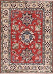 Geometric-RED-IVORY-Super-Kazak-Oriental-Area-Rug-Hand-Knotted-Wool-Carpet-5-039-x7-039