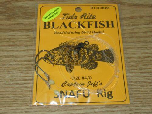 1 BLACKFISH TAUTOG FISHING RIGS TIDE RITE R455 CAPTAIN JEFF/'S SNAFU 2 HOOK 4//0