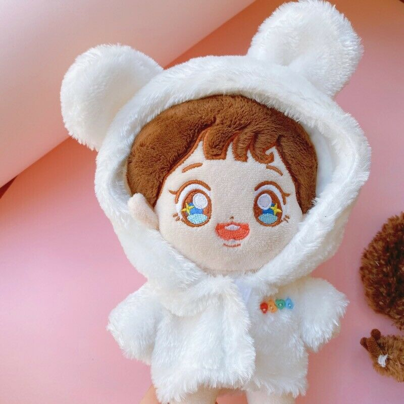 Hand-made Kpop Doll Clothes Plush Coat White Stuffed Gift Red Cosplay N