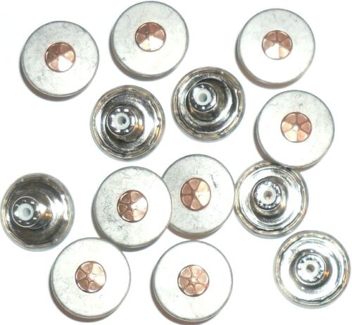 MATT SILVER WITH COPPER CENTRE JEAN BUTTONS 17MM NO SEW HAMMER ON ART M109