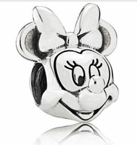 Plata Disney Mickey Minnie Mouse Retrato Figura pulsera con dijes Europea se ajusta