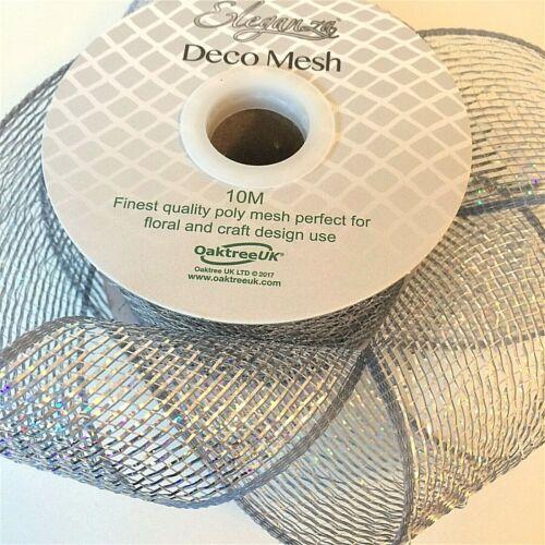 Eleganza 63mm Deco Mesh Ribbon Metallic Craft Wreath Bow Making Floristry Choose