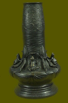 Bronze Antike Originale Vor 1945 Selten Sammlerstück Dekoriert Alt Handarbeit Bronze Carve Frosch Frösche Groß Wide Selection;