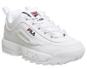 3ca0e674fbaa2 Image is loading Womens-fila-disruptor-II-sneaker-white-leather-sneakers