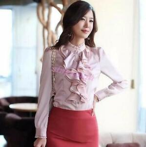 Womens-Career-Long-Sleeves-Formal-Tops-High-Neck-Frilly-Ruffle-Shirt-Blouse-Tops