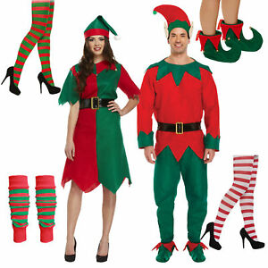 37663c425d15a Adults Elf Costume Christmas Fancy Dress Green and Red Tights Shoes ...