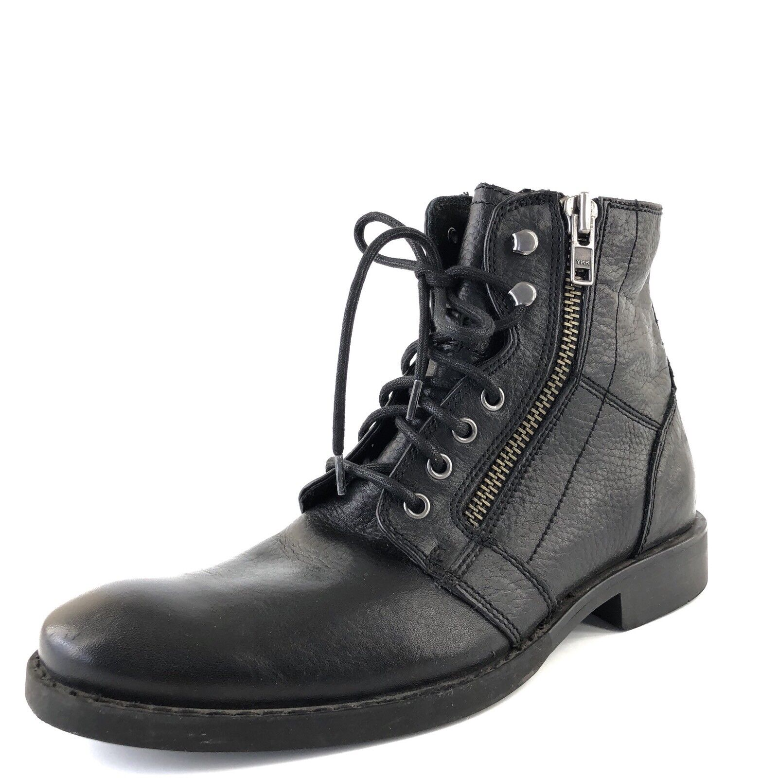 The Rail 'Derek' Black Leather Cap Toe Lace Up Combat Boots Men's Size 41 M