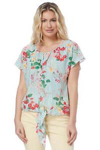 6af1522d6a9fc4 Details about Roman Originals Womens Floral Stripe Print Top Ladies Short  Sleeve Holiday Party