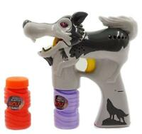 Light Up Grey Wolf Bubble Gun With Sound Endless Toy Bubbles Maker Machine