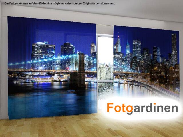 """Fotogardinen """"Manhattan"""" Vorhang mit Motiv, 3D Fotodruck, Fotovorhang, auf Maß"""