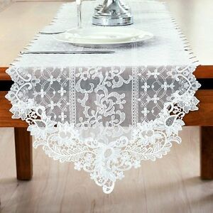 Elegant lace table runner embroidery hollow floral cloth home cafe image is loading elegant lace table runner embroidery hollow floral cloth junglespirit