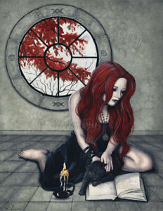 Fantasy-Art-PRINT-Gothic-Witch-Spell-Book-Black-Cat-Autumn-Window-wc-Red-Gray