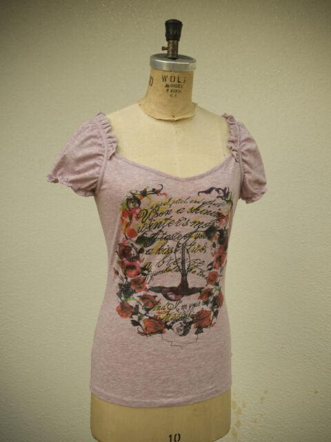 Miss Sixty Size S Deep Romantic Love Poetry Script Roses Bird Feminine Top
