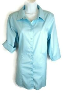 Chicos-Womens-Tunic-Top-Size-2-L-Large-Blue-No-Iron-3-4-Sleeve-Button-Front