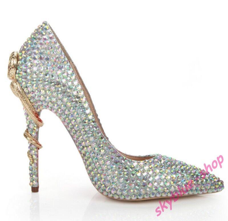 per il tuo stile di gioco ai prezzi più bassi Ladies Pointy Toe Rhinestone Metal High High High Heel Pump Bridal Wedding Dress scarpe Hot  promozioni di squadra