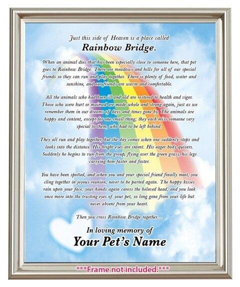 Rainbow Bridge Pet Loss MEMORIAL POEM Dog Cat Personalized 8x10 Memory GIFT