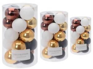 Christbaumkugeln Kunststoff 60-teilig Metallic-Mix weiß gold kupfer schwarz