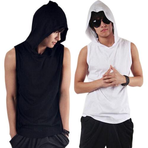 Men Sleeveless Sweatshirt Hooded Tank Top Sports Fitness Cotton Solid Tee Tops