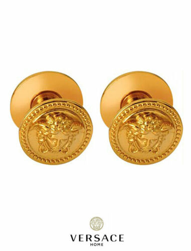 Versace Classic 24KT Gold Medusa Cabinet Knobs Set of 2 New 100/% Authentic
