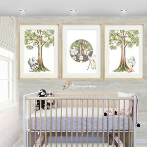 Woodland Animal Nursery Wall Prints