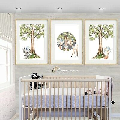 Woodland Animal Nursery Wall Prints Boys Decor Ebay