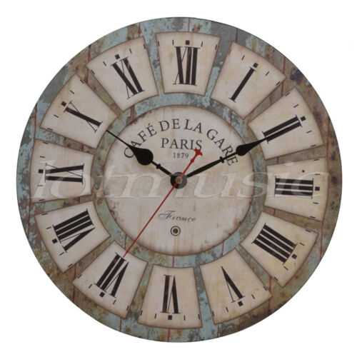 Antique Wood Wall Clock Round Large Art Home Decor Decoration Roman Numbers