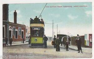 West-Croydon-Sutton-Tram-Terminus-1911-Postcard-B487