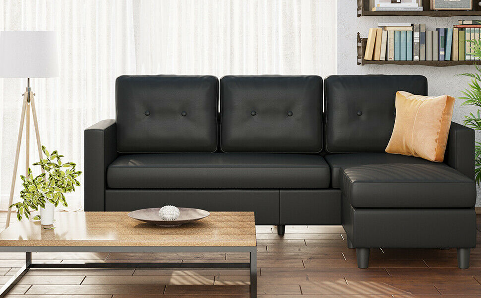 Convertible Sectional Sofa Leather L-Shaped Couch Chaise for Living Room Bedroom