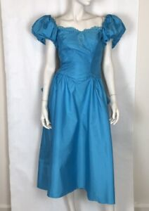 Vintage-80s-Cerulean-Blue-Party-Prom-Puff-Balloon-Sleeve-Princess-Dress-S