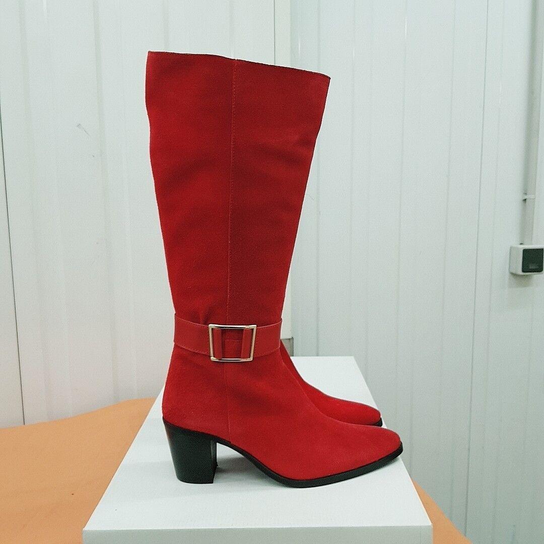 Botte lody double cuir(daim) couleur rouge pointure 38