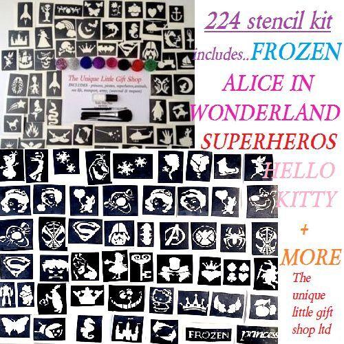 GLITTER TATTOO KIT-224 boys, girls, seasonal midi and mini stencils 8 glitters