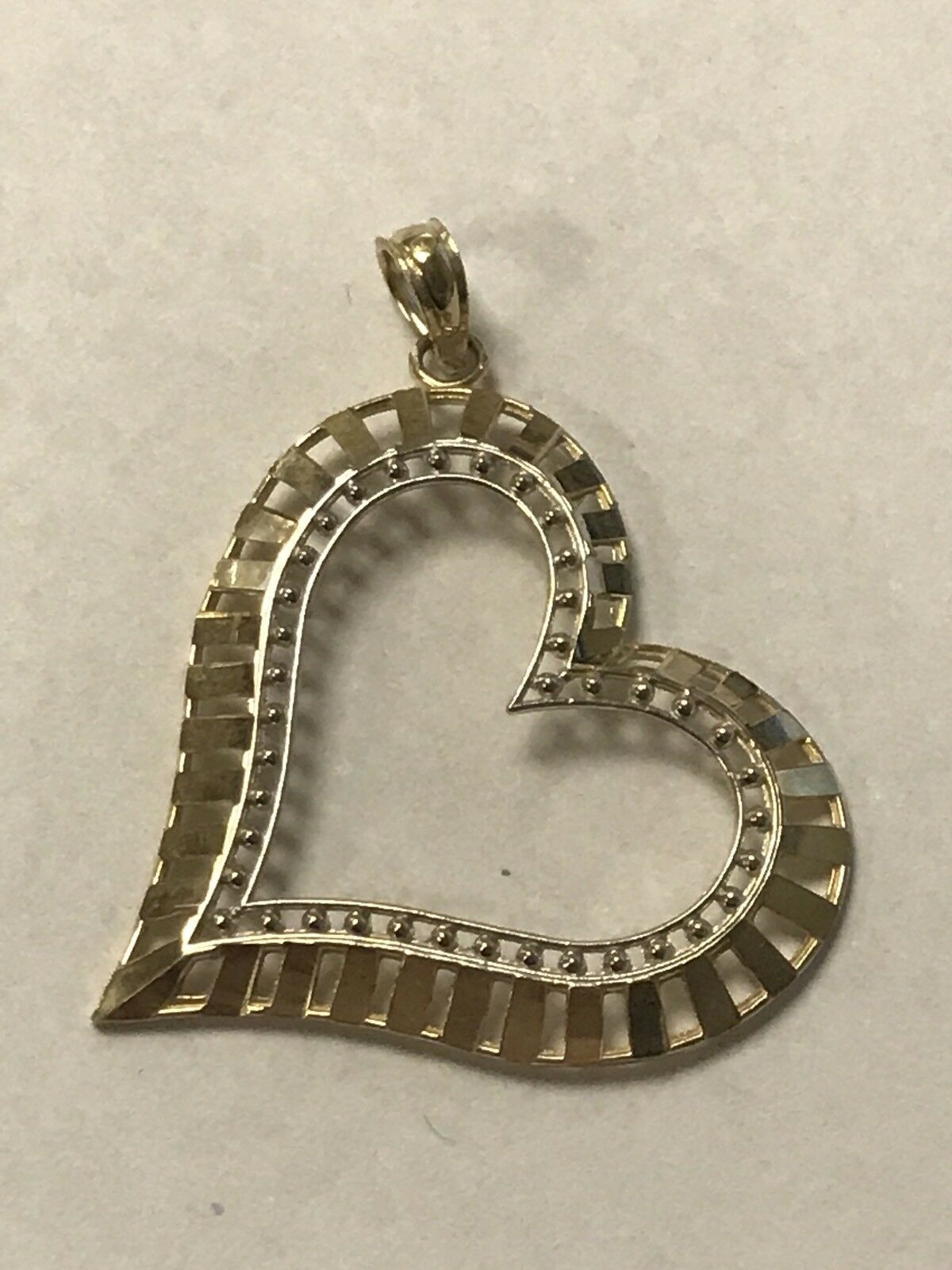 Gorgeous 10KT Yellow & White gold Sideways Heart Etched Line Design Pendant