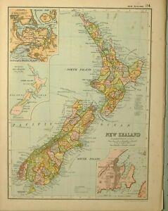 1909 Antik Landkarte New Zealand North & South Island Auckland Wellington