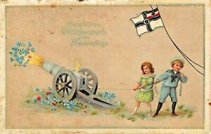 HERZLICHEN-GLUCKWUNSCH-NAMENSTAGE-CHILDREN-FIRE-CANON-GERMAN-WW1-FLAG-POSTCARD