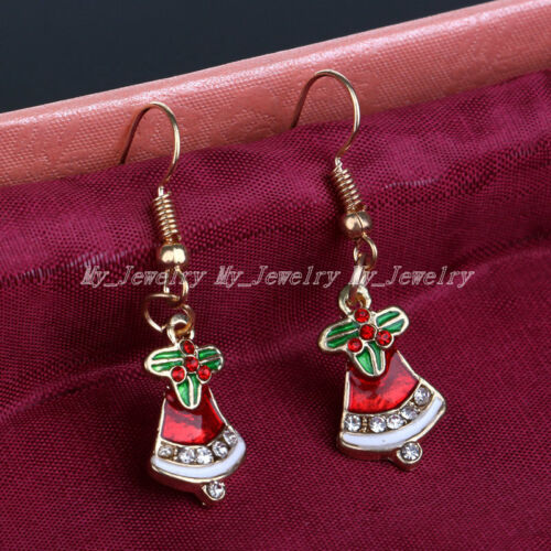 Charm Crystal Santa Claus Garland Deer Christmas Tree Drop Dangle Earrings Xmas