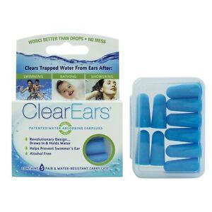 ClearEars Water Absorbing EarPlugs Swimming 5 PR Bathing Shower Carry Case 43005